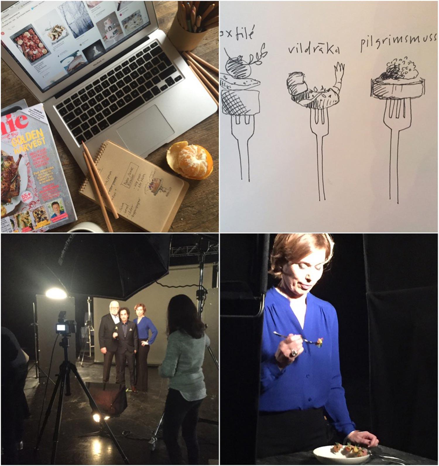 Skisser, inspiration och planering inför en tuff arbetsvecka som började med ett uppdrag för Mästerkocken.