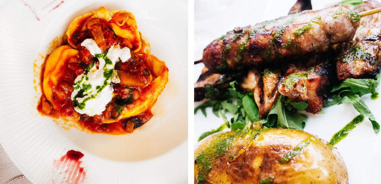 Ravioli w/ ricotta and tomato sauce R. Siena Pork (Iberico style) with roasted potatoes. Ploppestable, Petter Bäcklund