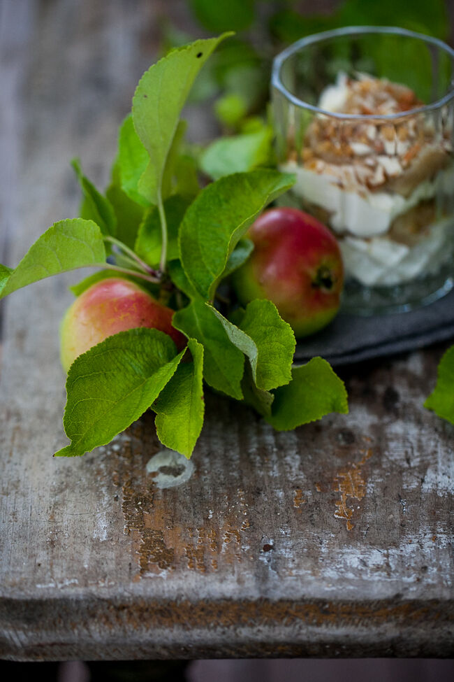 snabb äppelcheesecake