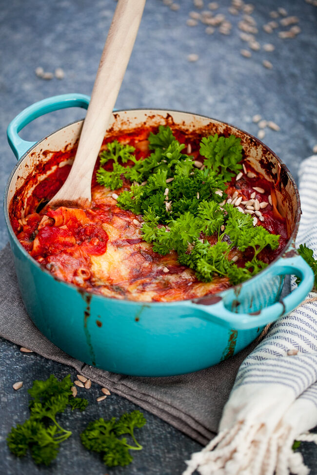 vegetarisk lasagne med halloumi, spenat