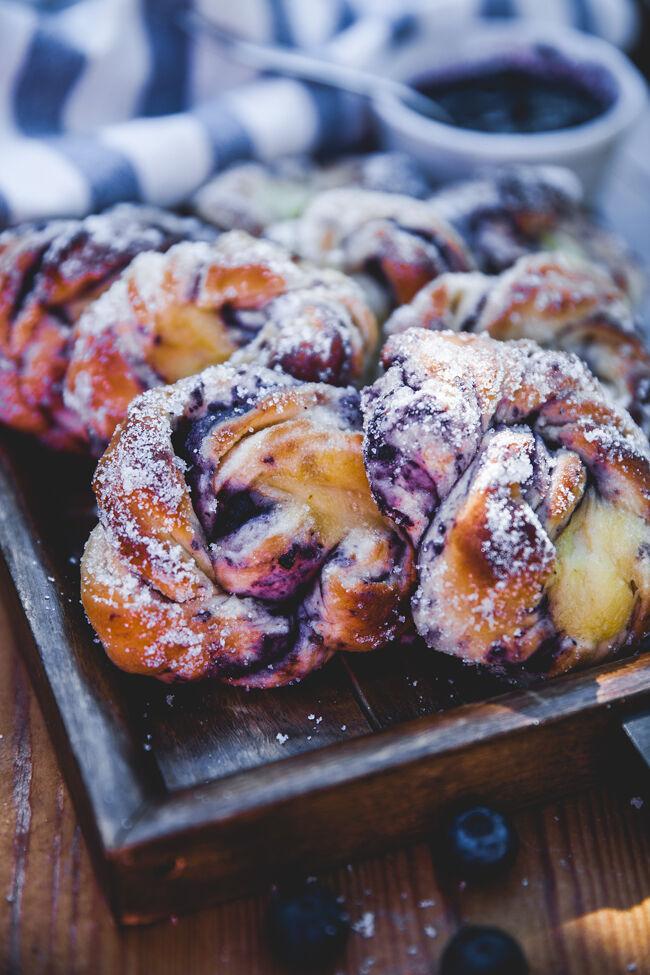 recept, baka, blåbär, bullar