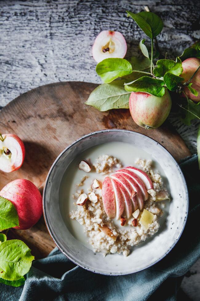 steel cut oats, gröt. äpple