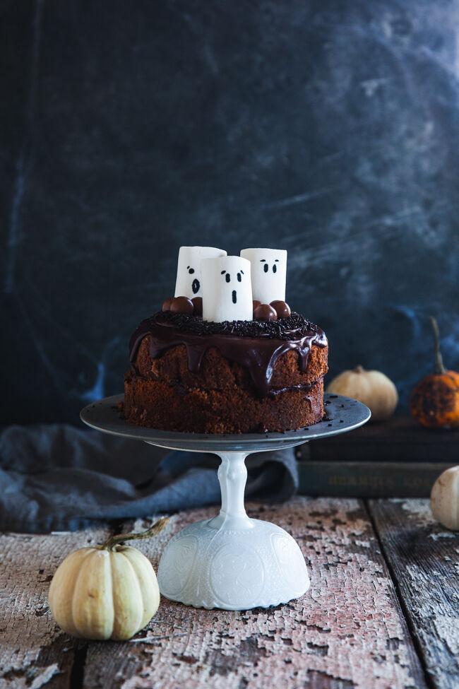 halloweentårta, spöken, kärleksmums