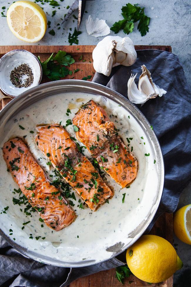 snabb middag, vardagsmat, lax i vitlökssås