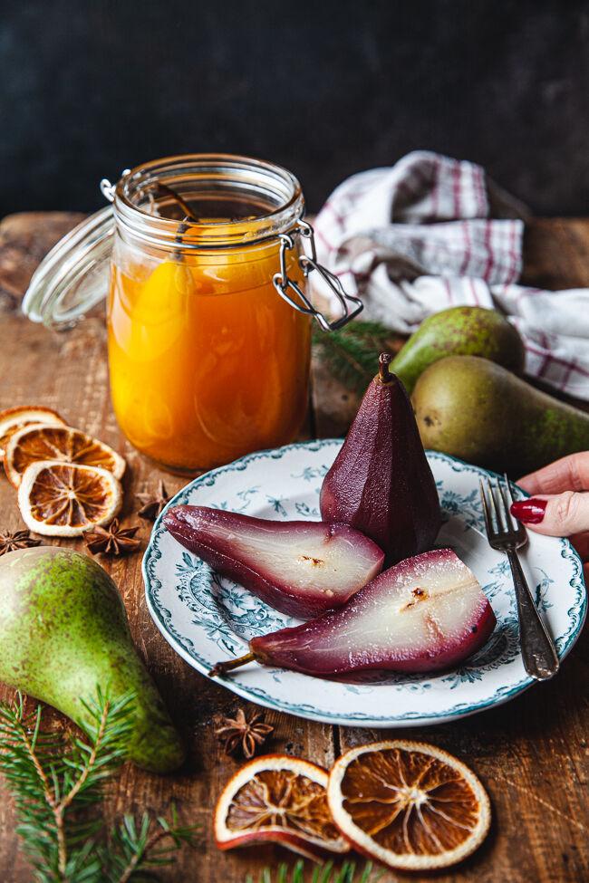 inlagda päron, juldessert, dessert, frukt