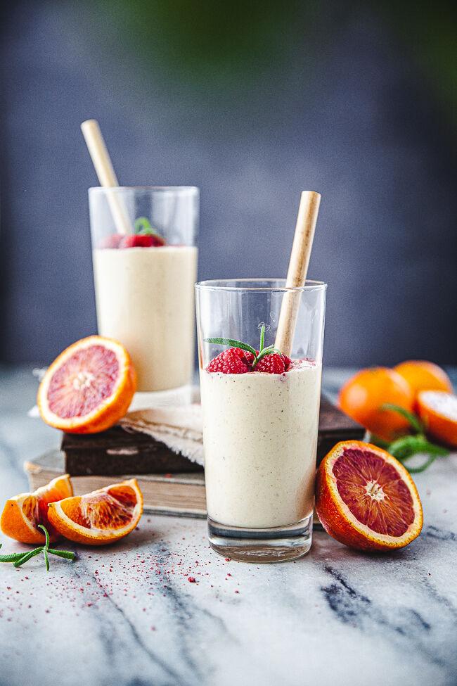 smoothie, kokos, apelsin, blodapelsin, banan
