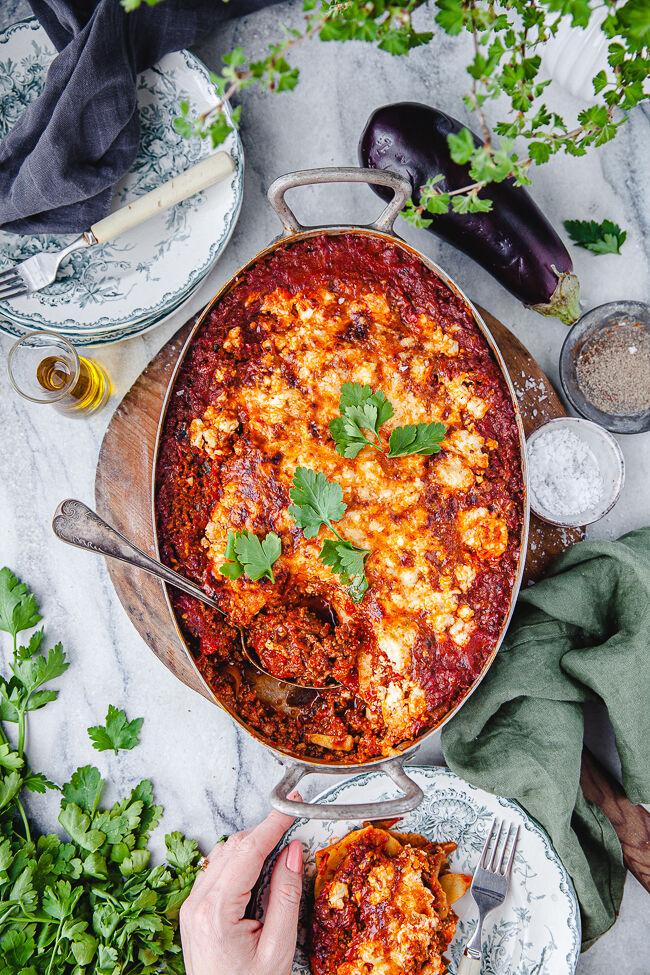 pastagratäng, lasagne, middag