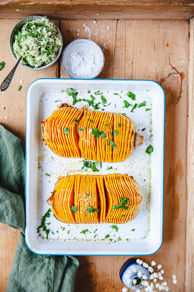 Butternut, pumpa, hasselbacks
