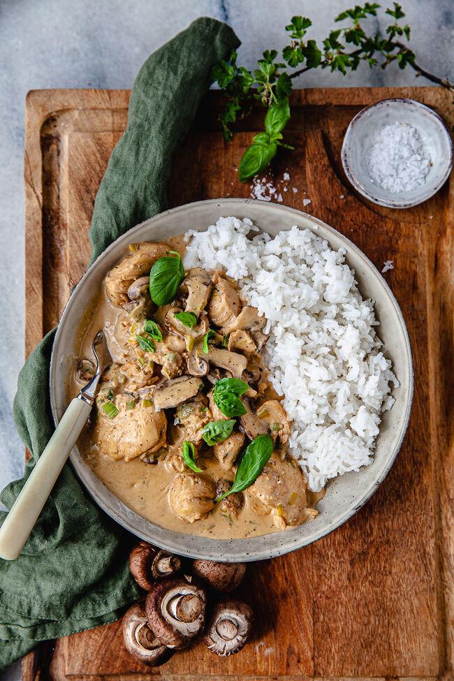 kyckling, gryta, svamp, färskost, snabbmat, middag på 30 minuter