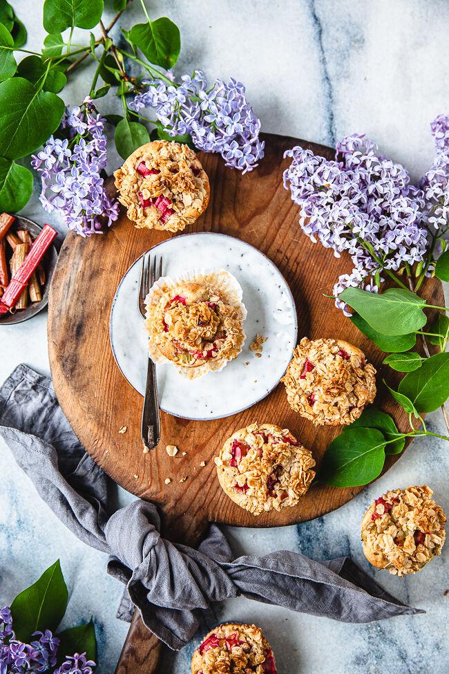 rabarmuffins, muffins, rabarber, havregryn
