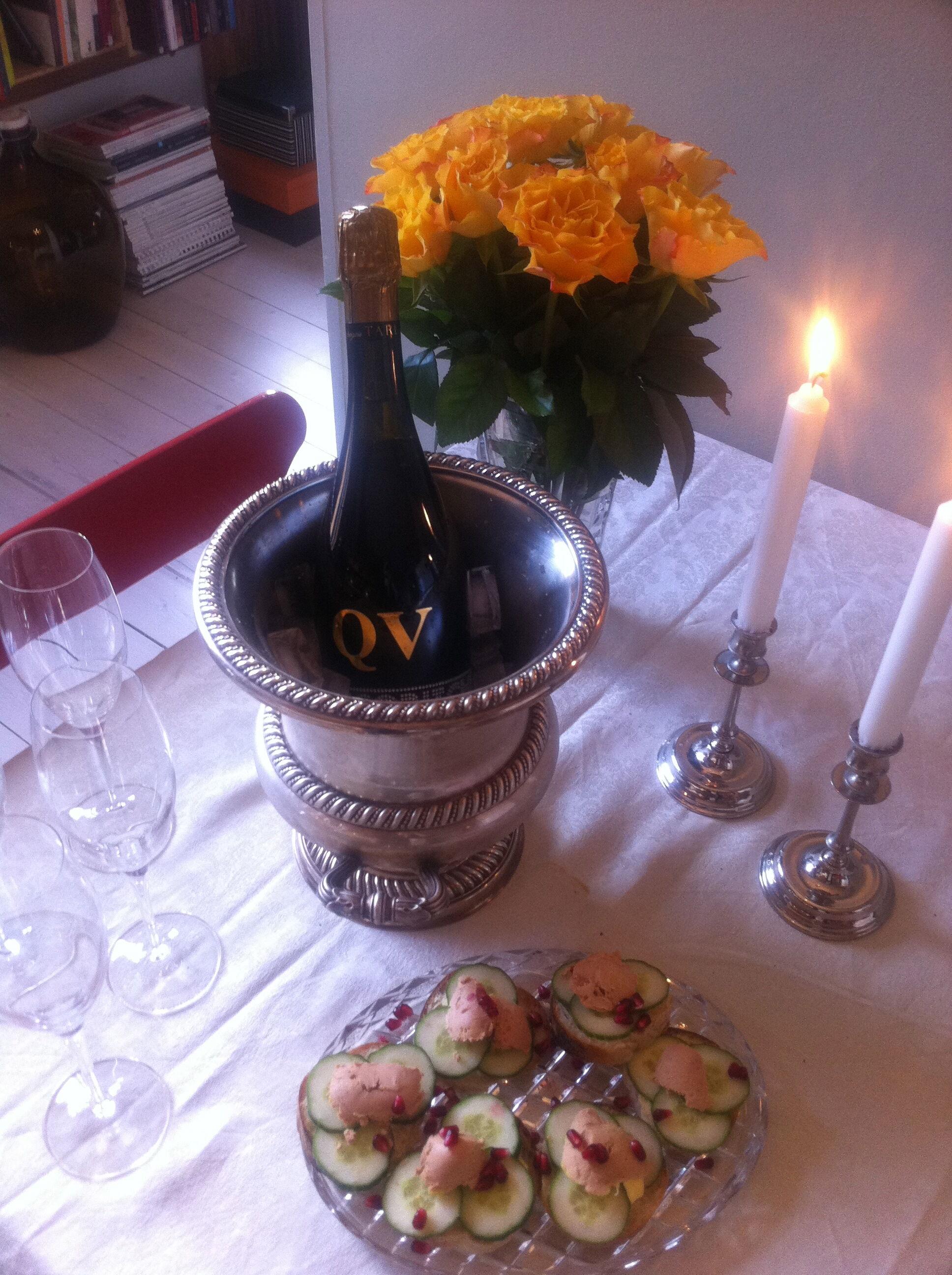 meny alla hjärtans dag middag recept hummer champagne ostron