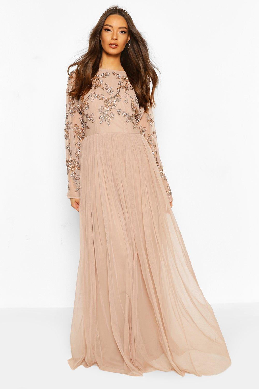 womens-blush-bridesmaid-hand-embellished-long-sleeve-maxi-dress