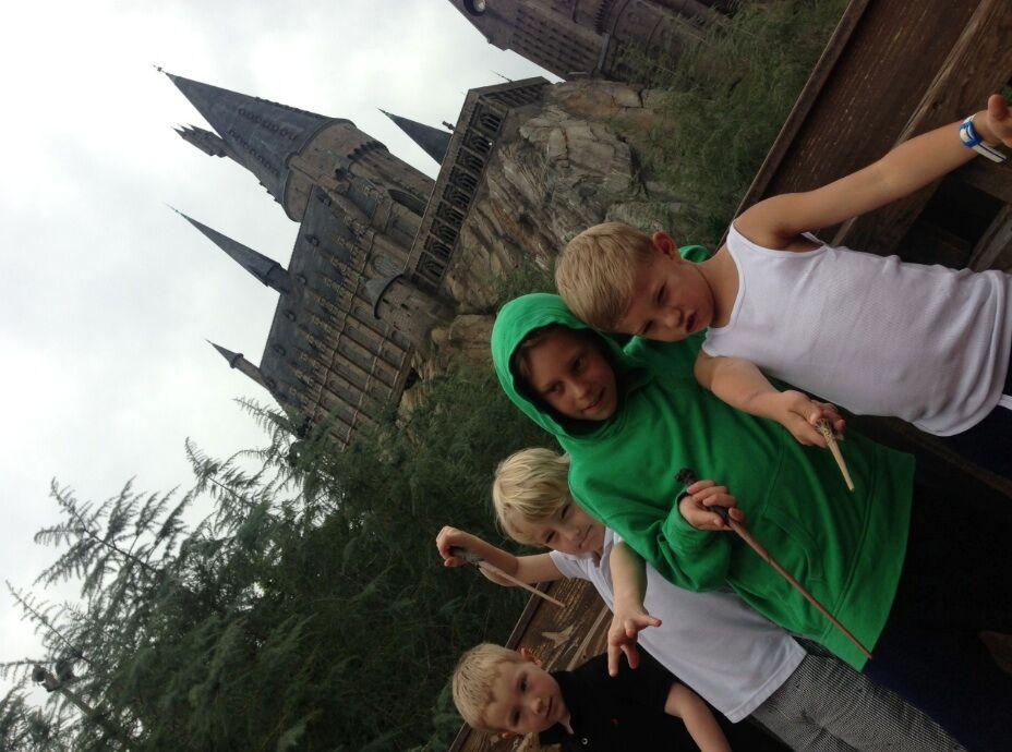 I Miami förra året framför Harry Potters lilla hus...