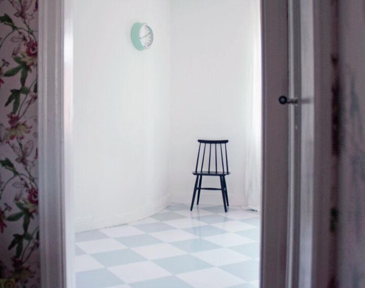 rutigt golv grönt shackrutigt vintage inredning kök