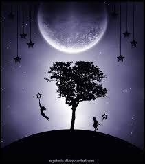 Nymåne med träd