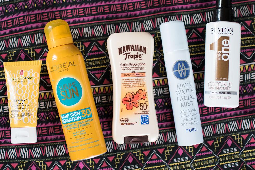 travel bag suncare skin care