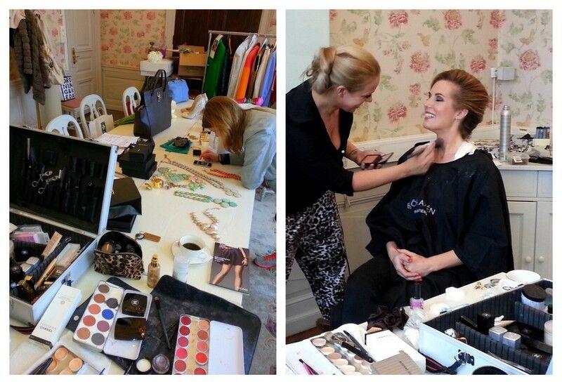 Här förvandlar hår och makeup artisten Linda Hansson mig med hjälp av massor av hårsprej och smink. Sen gäller det att få kläderna att passa.