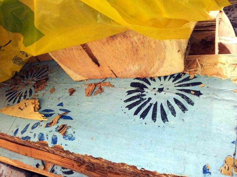 Jag har varit väldigt försiktig med att göra några större ingrepp huset. Men här blev ändå en timmervägg nersågad. Klarblå och handtryckta tapeter , troligen från byggnadsåret  1828, var limmade direkt på dessa timmerstockar.