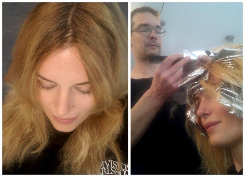Här ska mitt vintermörka hår bli upplyst. Att slinga håret är också ett bra sätt att förvirra bort gråa hår som börjat dyka upp.