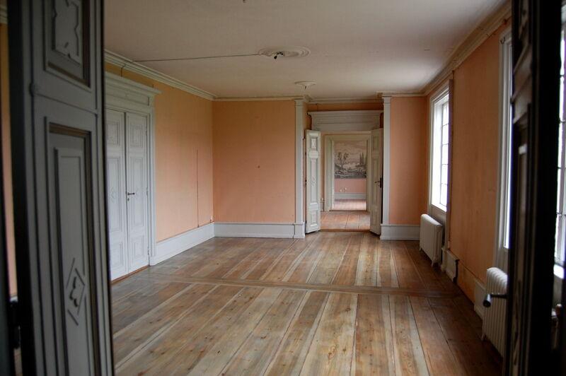 Jag gick vidare in i det som ska bli en matsal. Många rum har underbart breda golvbrädor, men de har nästan alla blivit fult lackade och behöver slipas om.