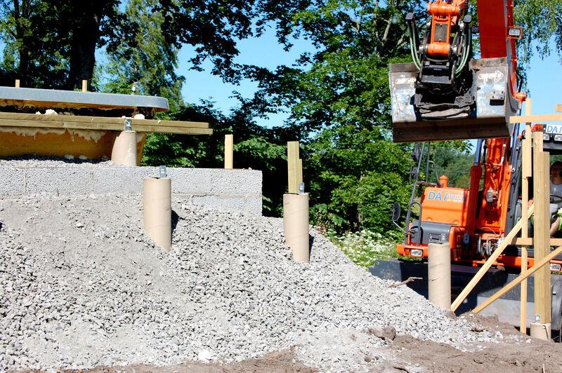 Sand har fyllts på innanför muren och mackadam på utsidan. Nu kommer detta hålla i en evighet och lite till!