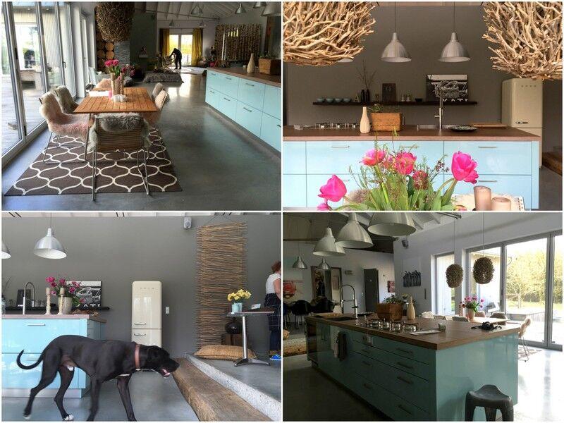 En stor köksö finns vid matplatsen som vetter ut mot trädgården och stora terrassdörrar, medan det huvudsakliga köket ligger dolt bakom en vägg.