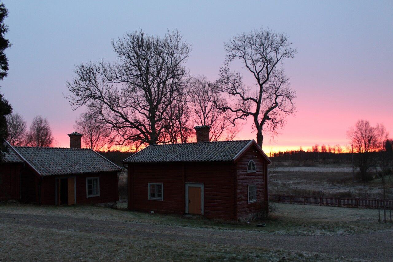 Väl hemma på prästgården var jag glad, men mådde lite si och så av alla godsaker. Bilden är från samma dags gryning.