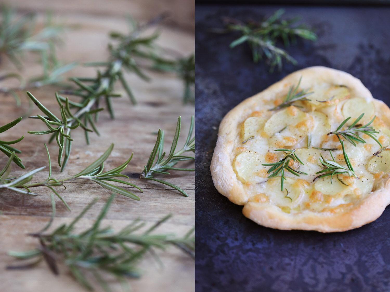 Pizza med potatis, rosmarin och mozzarella. Ta till vara.