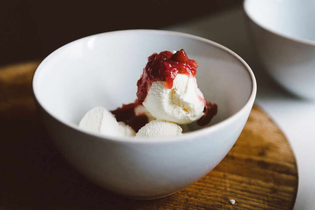 Raspberry and rhubarb compote by Babes in Boyland