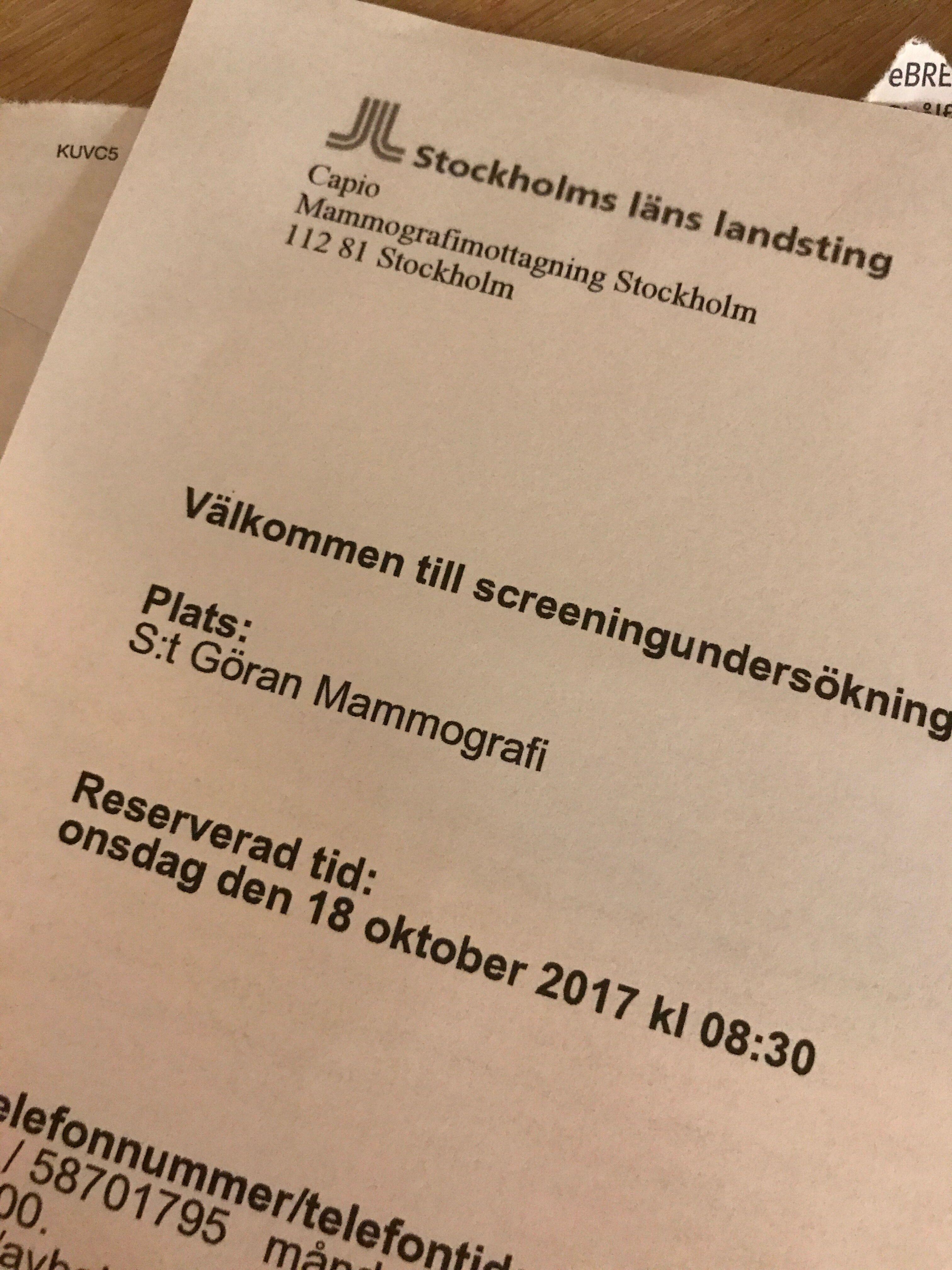 Kallelse till mammografi