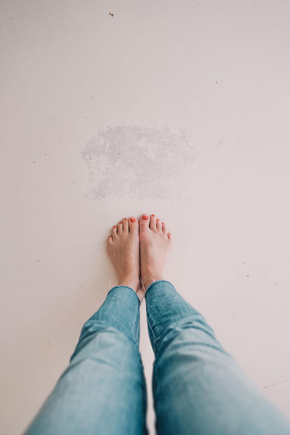 måla linoleumgolv plastmatta före och efter 3