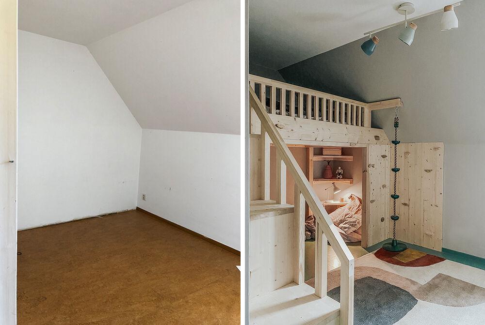 iggys rum före och efter våningssäng barn barnrum