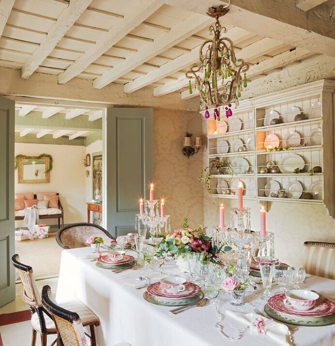 Festive shabby chic interior decor