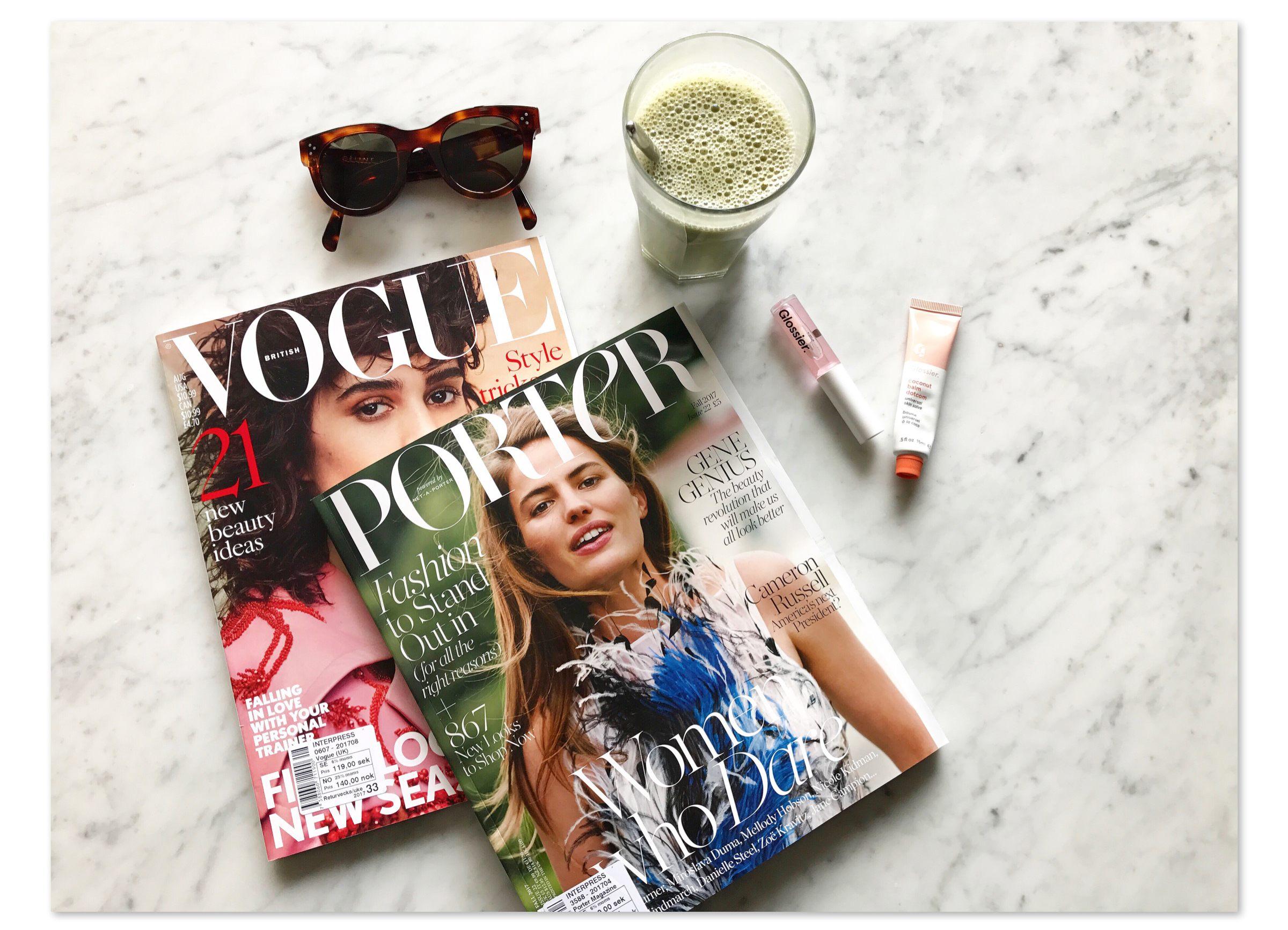 vogue porter magazines celine sunglasses matcha latte