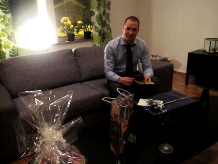 Födelsedagsbarnet Johan uppvaktades med paket