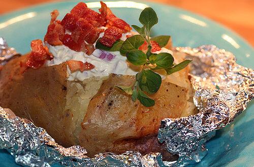 bakad potatis röra bacon
