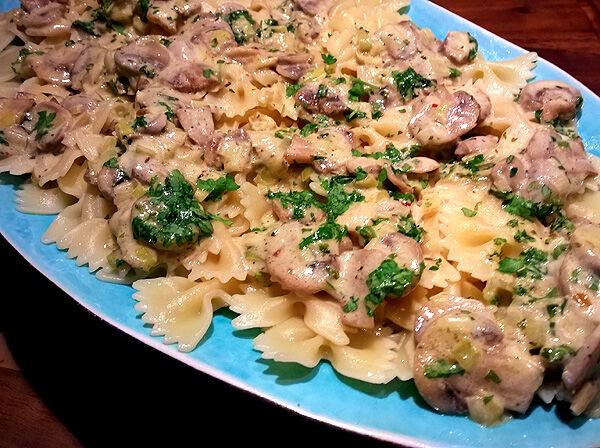 pasta_pastafjärilar_pastasås_champinjonsås_champinjonpasta_middagstips_recept_lunch
