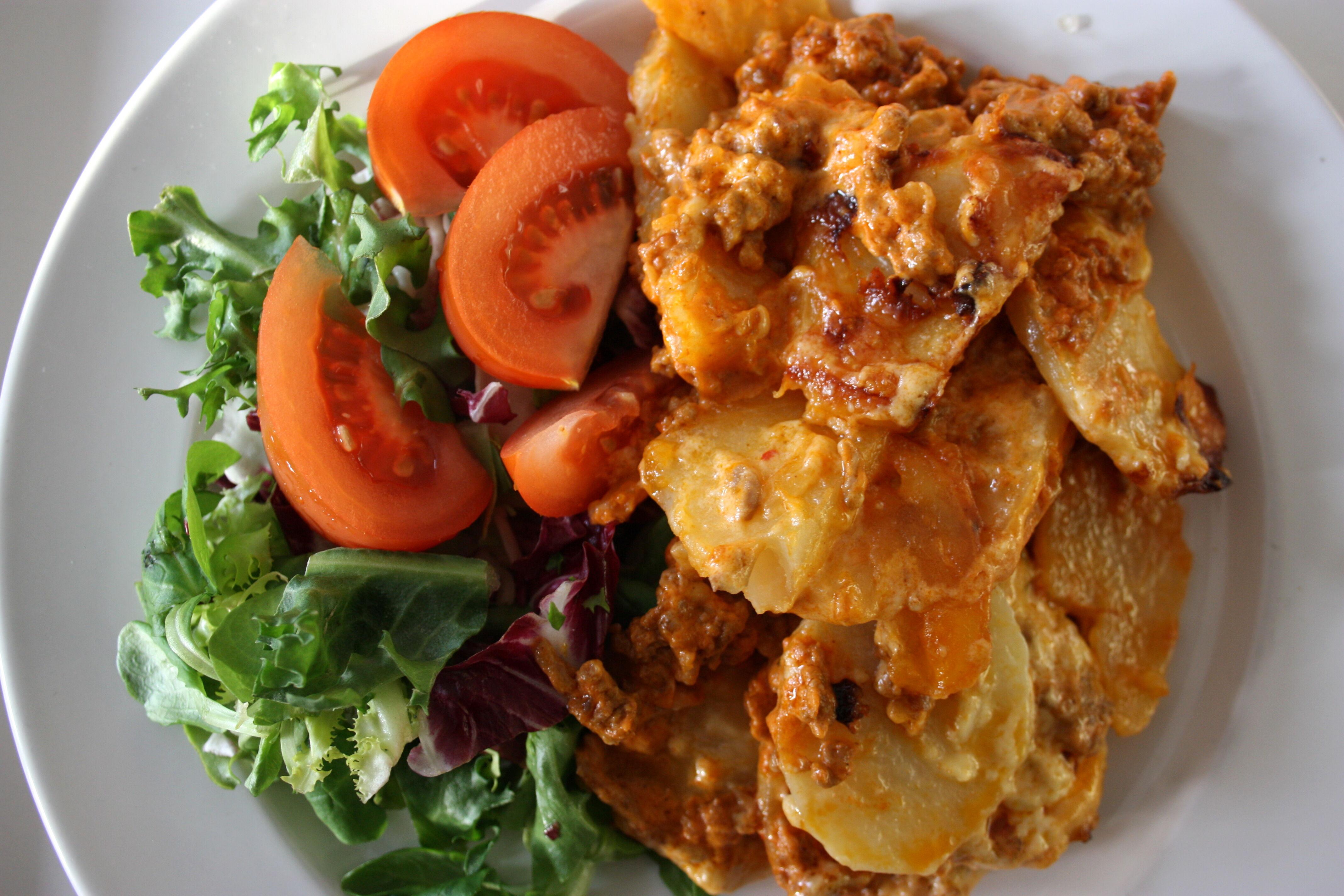 köttfärsgratäng potatis