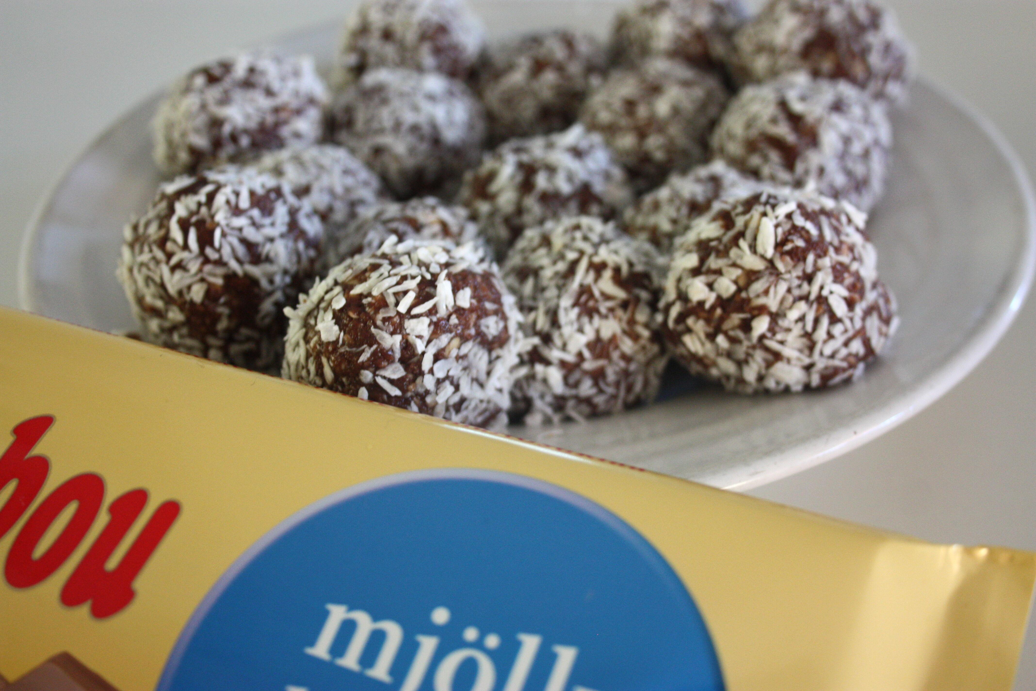 fyllda chokladbollar