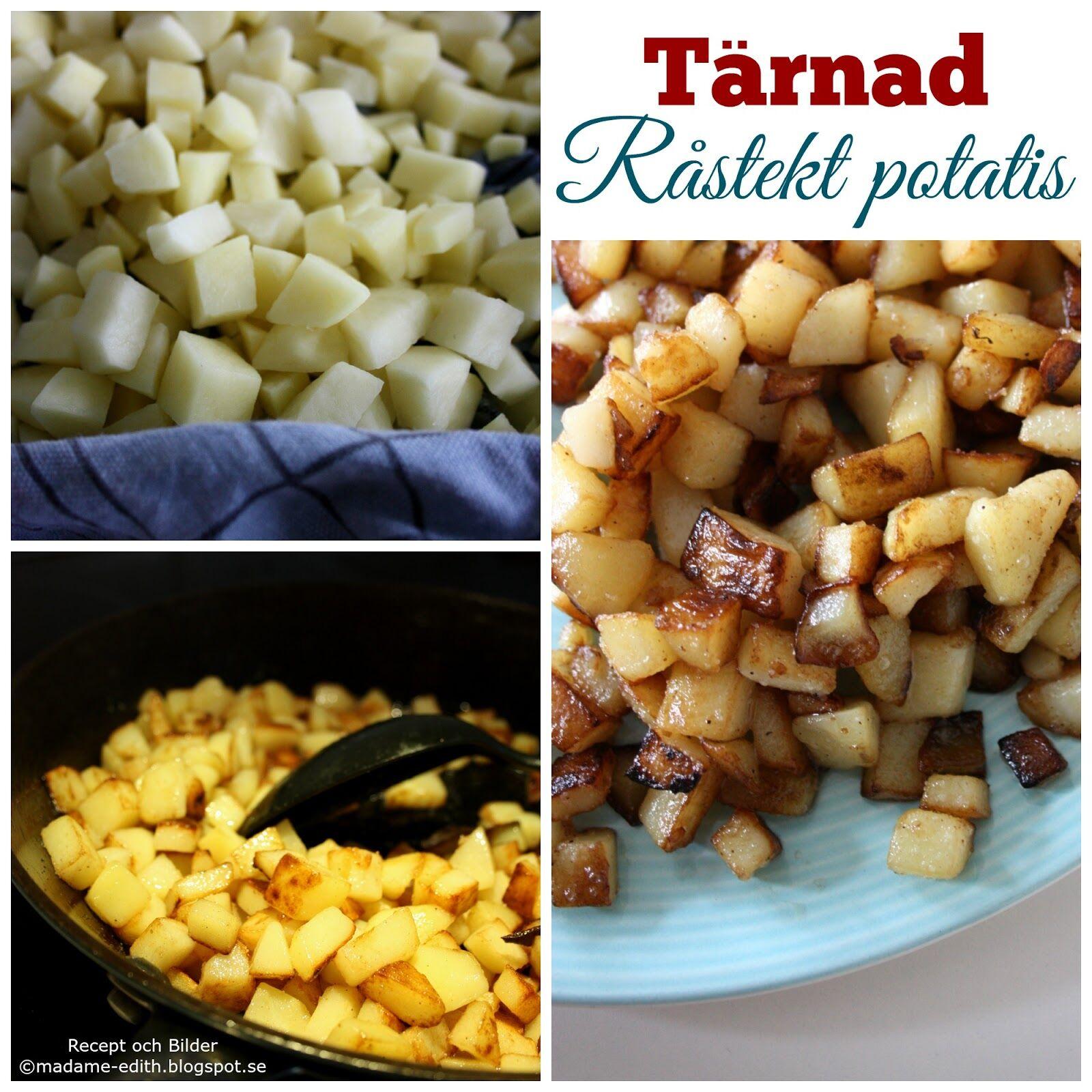 tärnad råstekt potatis