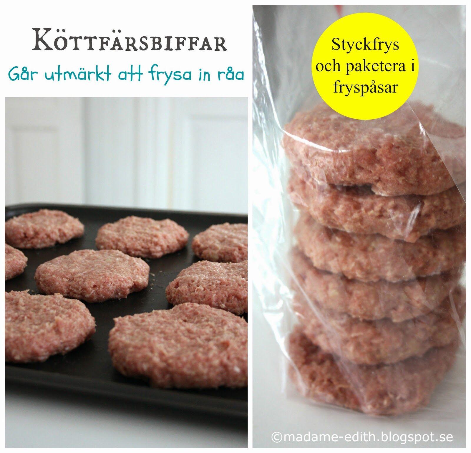 frysa råa köttfärsbiffar