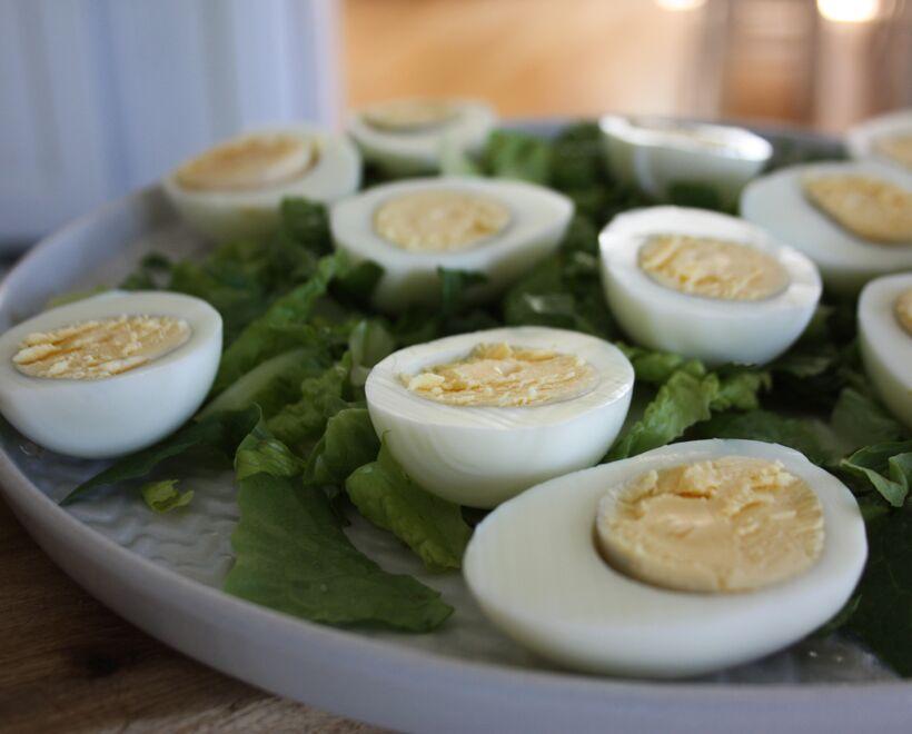 ägghalvor topping
