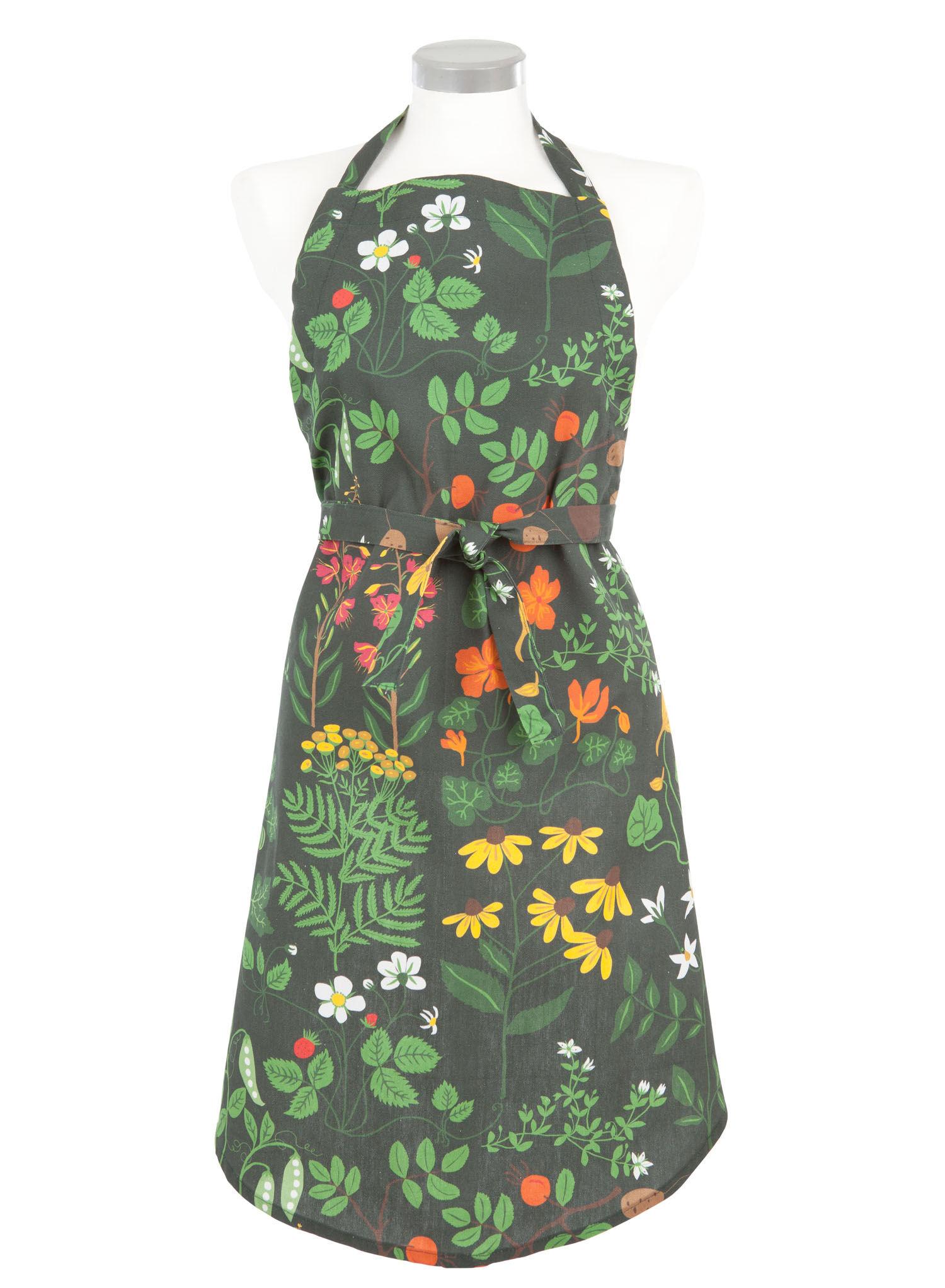Grön förkläde med blommor