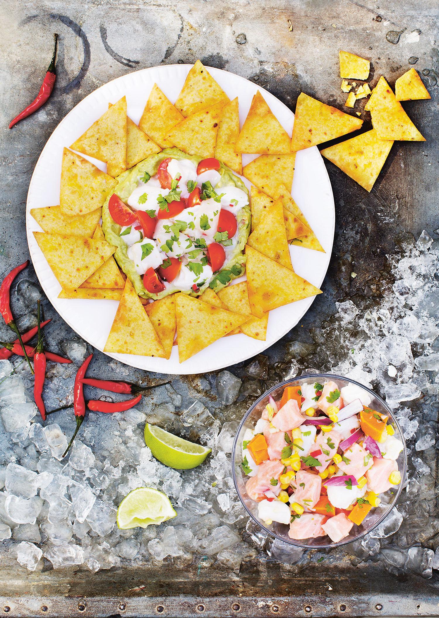 Enkel och god recept på ceviche med bland annat guacamole och sötpotatis