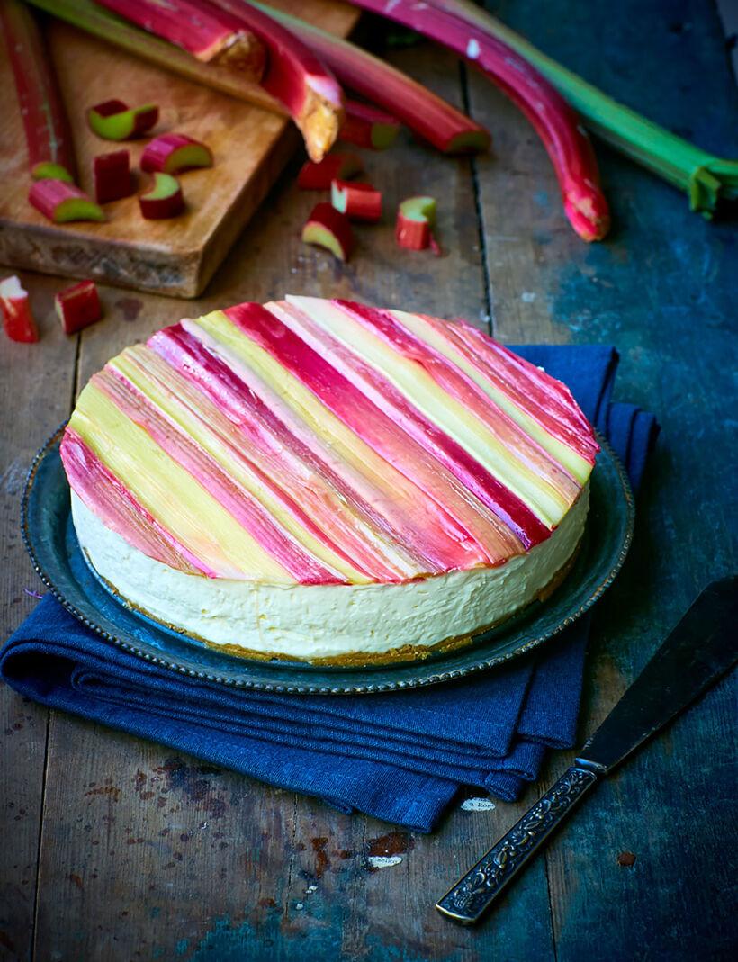 No bake cheesecake med rabarber