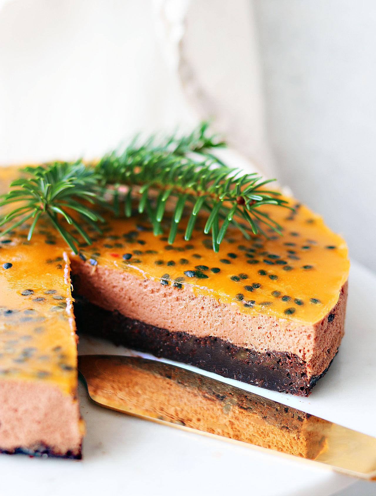 choklad passionsfrukt tårta