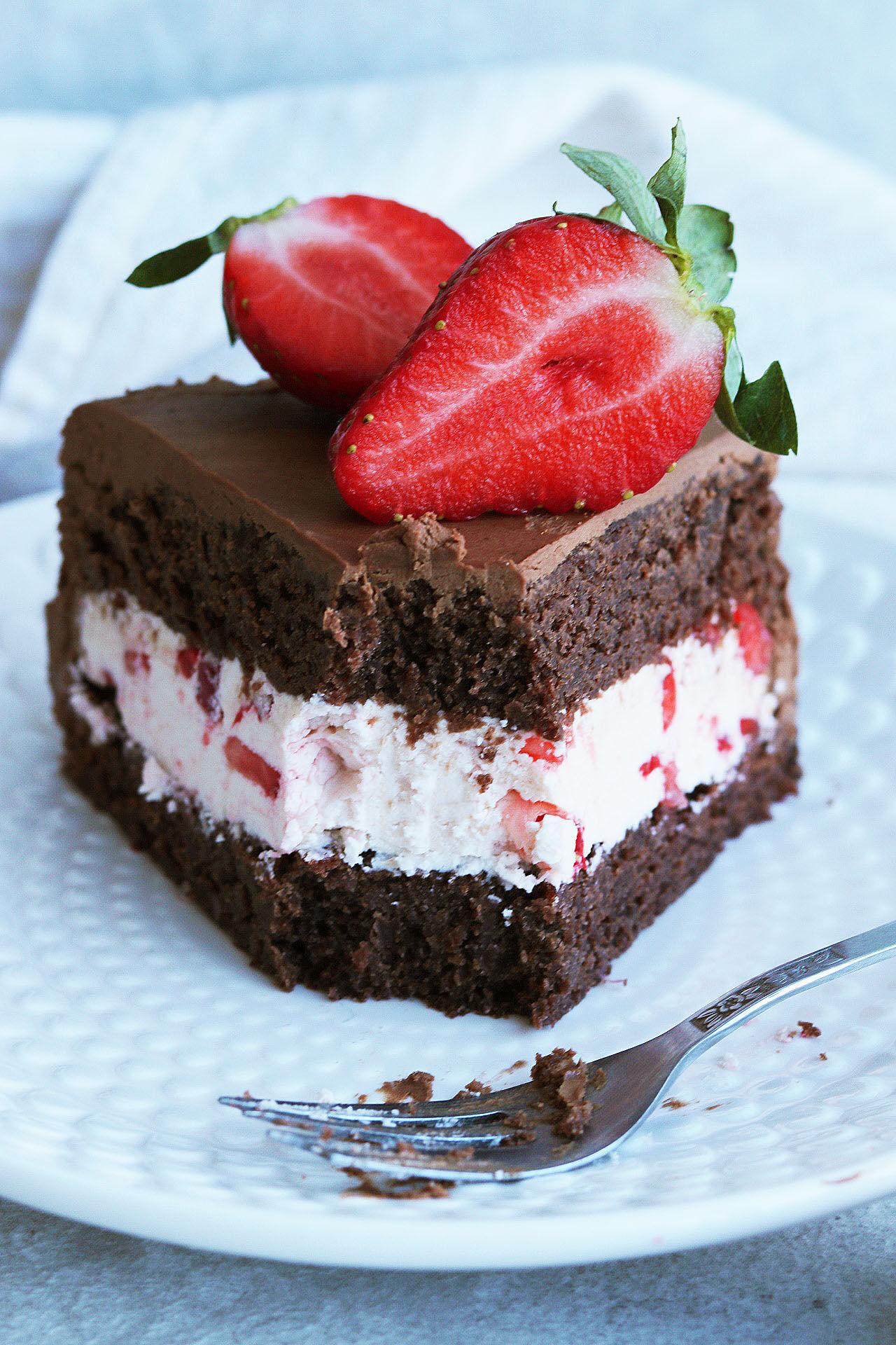 tårta choklad jordgubb